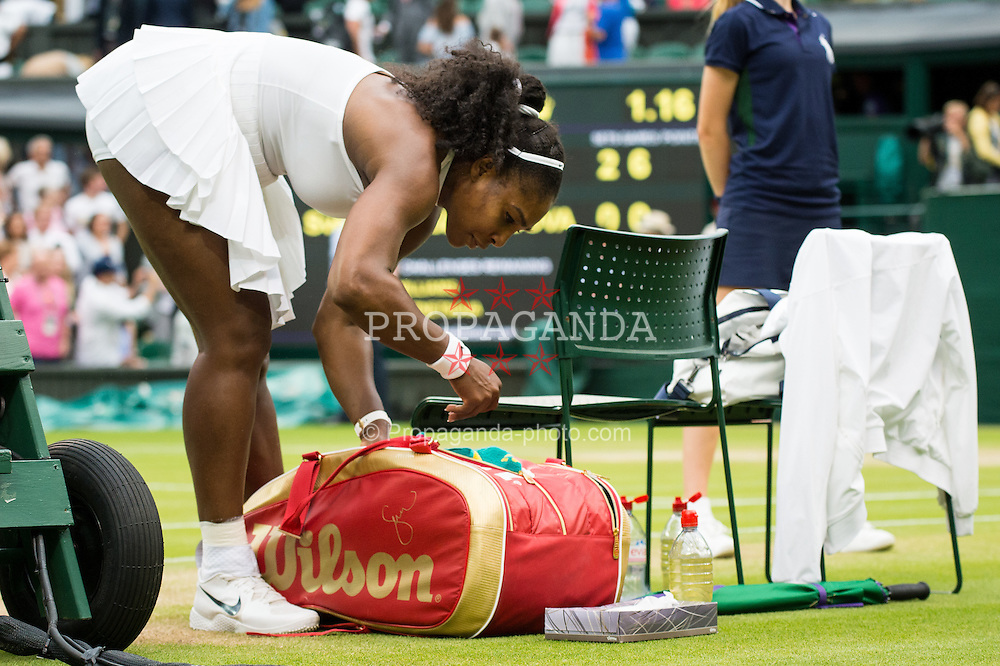 LONDON, ENGLAND - Monday, July 4, 2016:  Serena Williams (USA) packing her bag after winning the Ladies' Single 4th Round match on day eight of the Wimbledon Lawn Tennis Championships at the All England Lawn Tennis and Croquet Club. (Pic by Kirsten Holst/Propaganda)