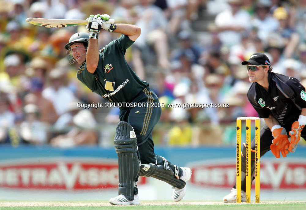 Australian captain Ricky Ponting batting during the one day international cricket match between New Zealand and Australia at the WACA ground in Perth on Sunday 28 January, 2007. Australia made 343/5 after winning the toss and batting first. Photo: Andrew Cornaga/PHOTOSPORT<br /><br /><br /><br />280107