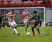 Dundees Dundee manager Phil Roberts takes on Hamilton's Dougie Imrie -  Hamilton Academical v Dundee, SPFL Premiership at New Douglas Park<br /> <br />  - &copy; David Young - www.davidyoungphoto.co.uk - email: davidyoungphoto@gmail.com