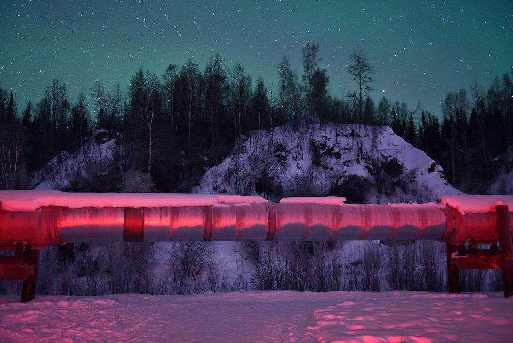 Alaska Pipeline outside of Fairbanks in the winter,Alaska,USA