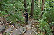 Vernon, New Jersey - A hiker heads down the Appalachian Trail on Wawayanda Mountain on Sept. 22, 2012.