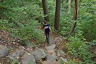 Vernon, New Jersey - A hiker heads down the Appalachian Trail on Wawayanda Mountain on Sept. 22, 2012.
