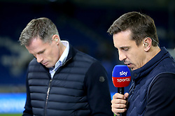 Sky Sports Pundits Jamie Carragher (left) and Gary Neville commentate on the pre-match action prior to the match kick off