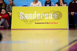 A general view of   with Sanderson branding - Photo mandatory by-line: Ryan Hiscott/JMP - 06/12/2019 - BASKETBALL - SGS Wise Arena - Bristol, England - Bristol Flyers v Sheffield Sharks - British Basketball League Championship