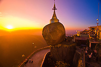 Golden Rock at twilight, Kyaikhtiyo Pagoda, Mon State, Myanmar (Burma)