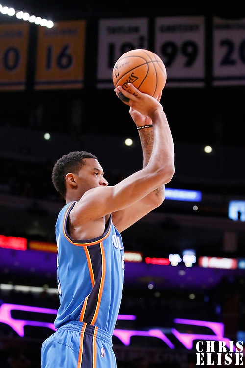 09 March 2014: Oklahoma City Thunder small forward Perry Jones (3) takes a jumpshot during the Los Angeles Lakers 114-110 victory over the Oklahoma City Thunder at the Staples Center, Los Angeles, California, USA.