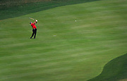 Jul 31, 2016; Springfield, NJ, USA; Patrick Reed hits his second shot from the 18th hole fairway during the Sunday round of the 2016 PGA Championship golf tournament at Baltusrol GC - Lower Course. Mandatory Credit: Eric Sucar-USA TODAY Sports