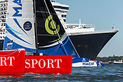Macif and IDEC Sport before the start of The Bridge 2017, a transatlantic race between the cruise liner RMS Queen Mary 2 and the world's fastest Ultim trimarans from Saint-Nazaire to New-York City on June 25, 2017 in Saint-Nazaire, France - Photo Vincent Curutchet / Dark Frame / ProSportsImages / DPPI