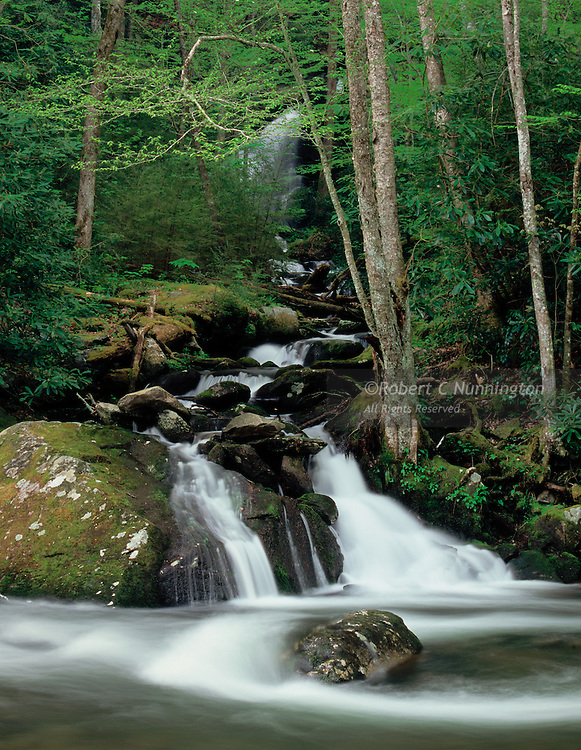 A waterfall and cascades alongside the Little River near Townsend in the Great Smoky Mountains National Park