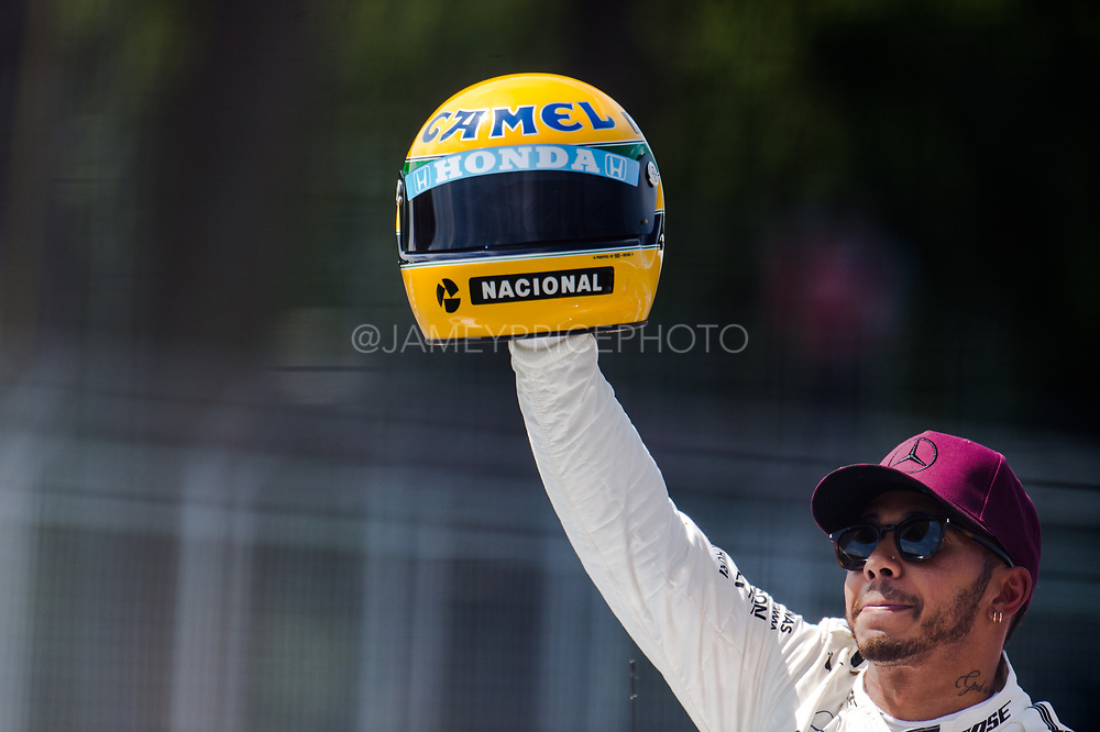 June 8-11, 2017: Canadian Grand Prix. Lewis Hamilton (GBR), Mercedes AMG Petronas Motorsport is presented with a race worn Ayrton Senna helmet by Senna's family after Hamilton tied Senna's 65 career poles.