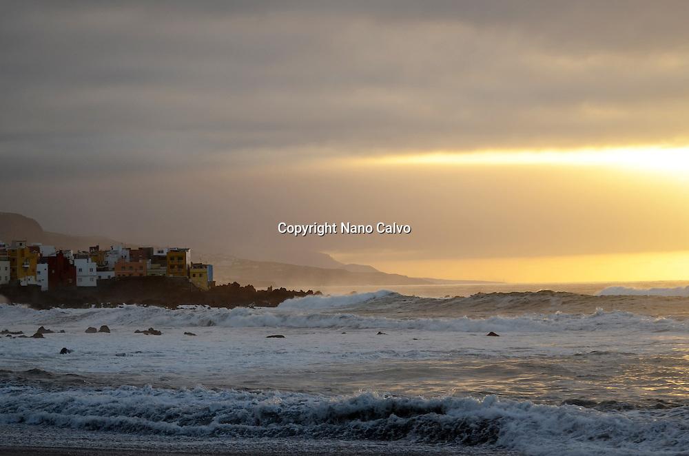 Beautiful sunset on the beach, Puerto de la Cruz, Tenerife