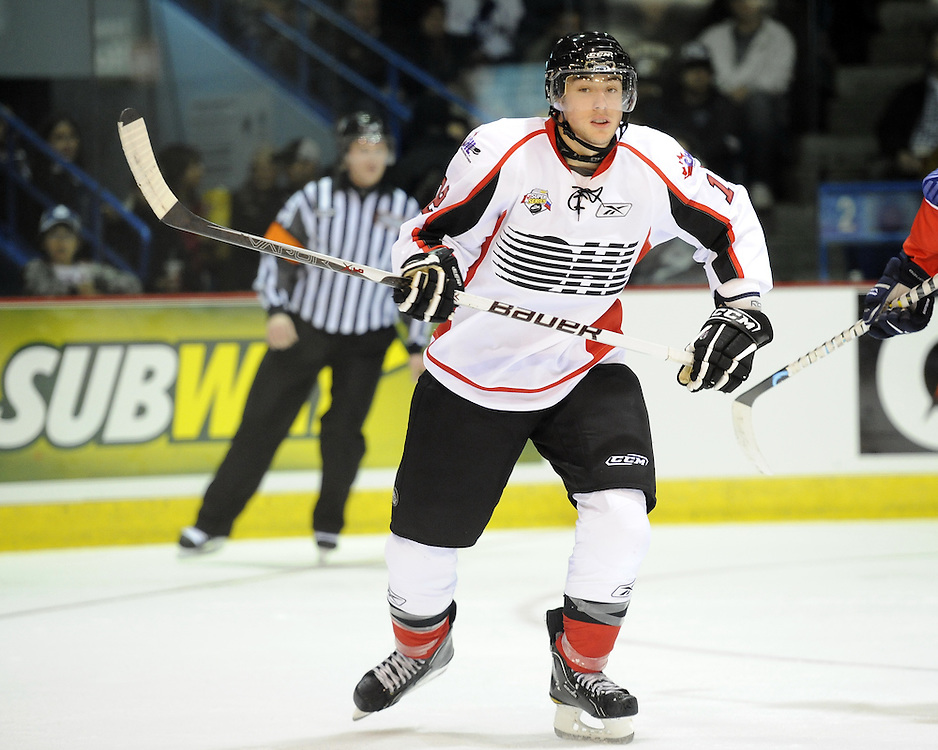 Jesse Blacker helped Team OHL to a 2-1 shootout win over Russia in Game 4 of the SUBWAY Super Series in Sudbury, ON on Monday Nov. 15, 2010.  Photo by Aaron Bell/OHL Images