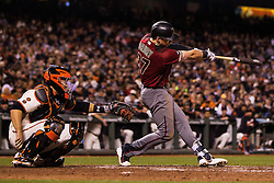 SAN FRANCISCO, CA - APRIL 20: Brandon Drury #27 of the Arizona Diamondbacks hits a single against the San Francisco Giants during the sixth inning at AT&T Park on April 20, 2016 in San Francisco, California.  (Photo by Jason O. Watson/Getty Images) *** Local Caption *** Brandon Drury
