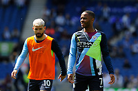 BRIGHTON, ENGLAND - MAY 12:   Raheem Sterling (7) of Manchester City warming up ahead of the Premier League match between Brighton & Hove Albion and Manchester City at American Express Community Stadium on May 12, 2019 in Brighton, United Kingdom. (MB Media)