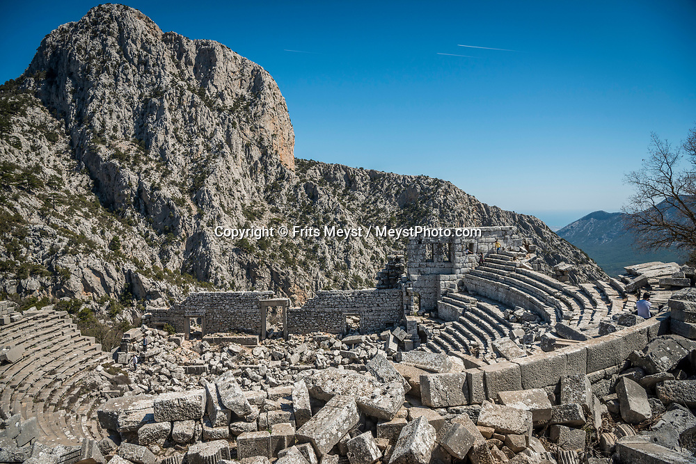 Turkey, April 2017.  Termessos was a Pisidian city built at an altitude of more than 1000 metres at the south-west side of the mountain Solymos in the Taurus Mountains. It lies 30 kilometres to the north-west of Antalya. With its many small bays along the rugged  mediterranean coast, and a great safety standard, Turkey is well suited for camper tourism. Photo by Frits Meyst / MeystPhoto.com