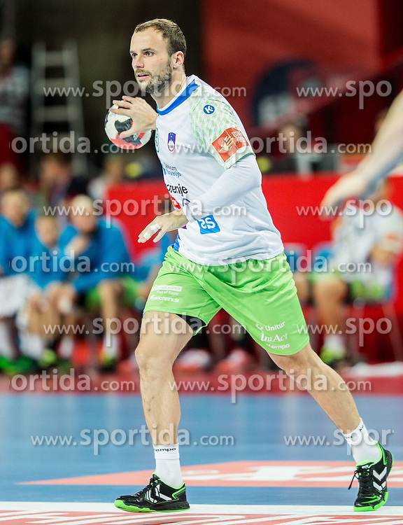 Uros Zorman of Slovenia during handball match between National teams of Germany and Slovenia on Day 6 in Preliminary Round of Men's EHF EURO 2016, on January 20, 2016 in Centennial Hall, Wroclaw, Poland. Photo by Vid Ponikvar / Sportida