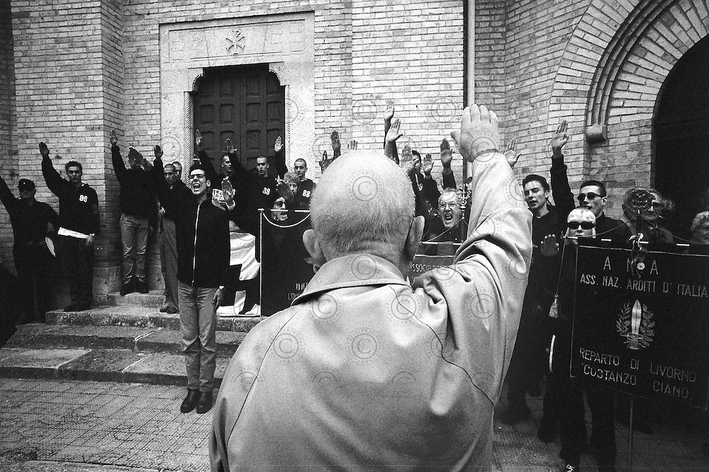 Birthplace of Benito Mussolini. Meeting of the anniversary of the march on Rome. Gathering of fascist sympathizers in front of the burial  Mussolini crypt..