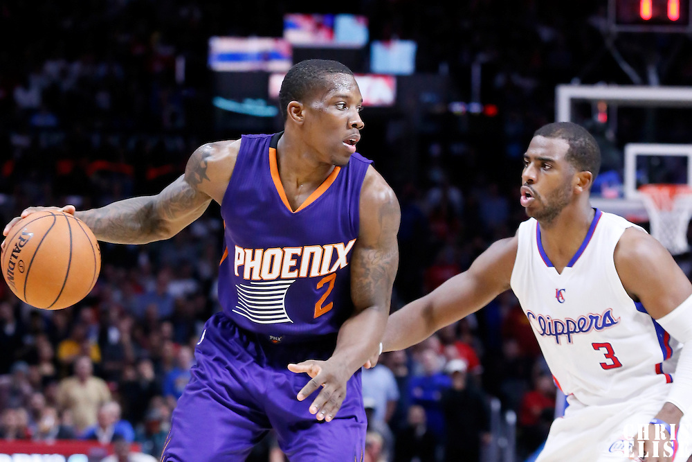 08 December 2014: Phoenix Suns guard Eric Bledsoe (2) drives past Los Angeles Clippers guard Chris Paul (3) during the Los Angeles Clippers 121-120 overtime victory over the Phoenix Suns, at the Staples Center, Los Angeles, California, USA.