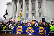 MADISON, WI — FEBRUARY 25: Activists in opposition to right-to-work legislation rally outside the Wisconsin State Captiol.