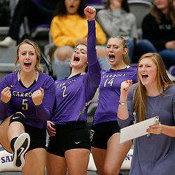 Carroll bounces back to beat Rocky 25-22 in game 2 of Saturday's match in Helena. The Saints lost 3-1 to the Battlin' Bears.