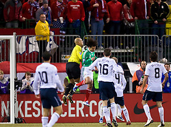 Mexico defender Rafael Marquez (4) spikes United States goalkeeper Tim Howard (1).  The United States men's soccer team defeated the Mexican national team 2-0 in CONCACAF final group qualifying for the 2010 World Cup at Columbus Crew Stadium in Columbus, Ohio on February 11, 2009.