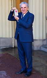 Actor Jim Carter proudly displays his OBE following an investiture ceremony at Buckingham Palace in London. London, March 14 2019.