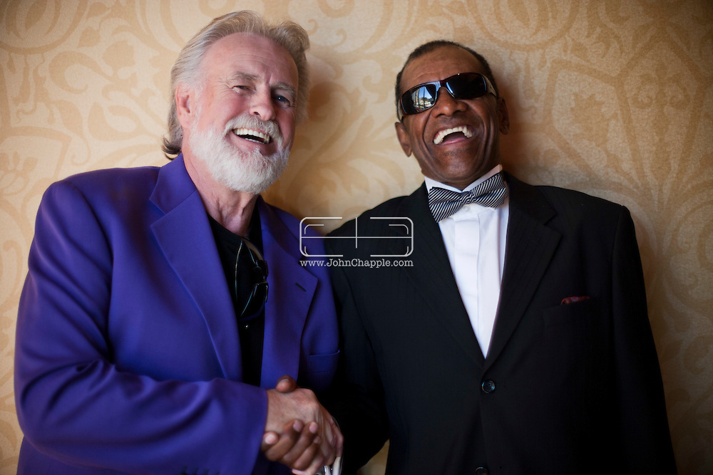 24th February 2011. Las Vegas, Nevada.  Celebrity Impersonators from around the globe were in Las Vegas for the 20th Annual Reel Awards Show. Pictured is Richard Hampton as singer Kenny Rogers with Johnnie Smoot as Ray Charles. Photo © John Chapple / www.johnchapple.com..