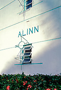 A metal Art Deco window grill on the Alinn Apartments, designed by architect Henry J. Maloney in 1937, in Miami Beach's historic South Beach neighborhood. Photographed in the early 1990s.