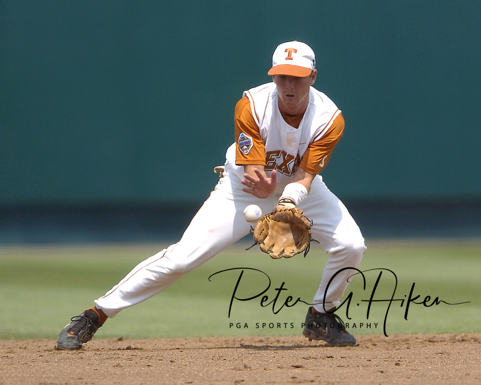 Texas second basemen Robby Hudson gets ready to field a ground ball against Florida in the third inning.  Texas defeated Florida 6-2 for the National Championship at the College World Series at Rosenblatt Stadium in Omaha, Nebraska on June 26, 2005.