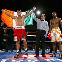 Conor Coyle of Ireland celebrates his victory over Joshua Maxwell during a Fire Fist Boxing Promotions boxing match at the A La Carte Pavilion on Saturday, August 12 , 2017 in Tampa, Florida.  (Alex Menendez via AP)