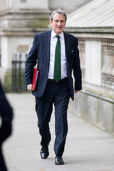 © Licensed to London News Pictures. 09/01/2018. London, UK. Education Secretary Damian Hinds walking through Whitehall to attend a Cabinet meeting in Downing Street this morning. Yesterday British Prime Minister Theresa May reshuffled her cabinet, appointing some new ministers. Photo credit : Tom Nicholson/LNP