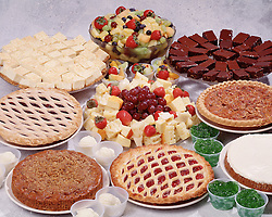 party holiday celebrate pie cake fruit cheeses ice cream cherry pecan apple brownies grapes