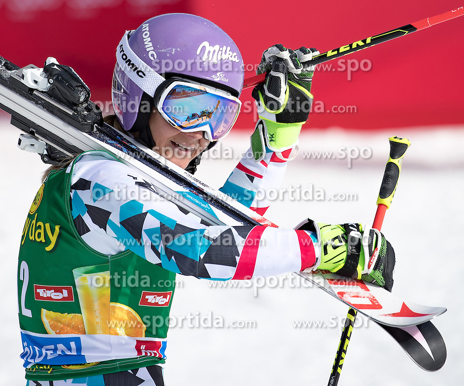 22.10.2016, Rettenbachferner, Soelden, AUT, FIS Weltcup Ski Alpin, Soelden, Riesenslalom, Damen, 2. Durchgang, im Bild Michaela Kirchgasser (AUT) // Michaela Kirchgasser of Austria reacts after her 2nd run of ladies Giant Slalom of the FIS Ski Alpine Worldcup opening at the Rettenbachferner in Soelden, Austria on 2016/10/22. EXPA Pictures © 2016, PhotoCredit: EXPA/ Johann Groder