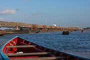 Demerara Harbour Bridge crossing the Demerara River. The bridge is the longest floating pontoon bridge in the world.<br /> Georgetown<br /> GUYANA<br /> South America