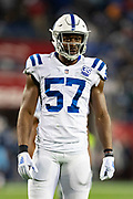 NASHVILLE, TN - DECEMBER 30:  Kemoko Turay #57 of the Indianapolis Colts at the line of scrimmage during a game against the Tennessee Titans at Nissan Stadium on December 30, 2018 in Nashville, Tennessee.  The Colts defeated the Titans 33-17.   (Photo by Wesley Hitt/Getty Images) *** Local Caption *** Kemoko Turay