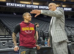 December 27, 2017 - Sacramento, CA, USA - The Cleveland Cavaliers' Isaiah Thomas talks with former NBA player Doug Christie, right, before the Sacramento Kings play host to the Cavs on Wednesday, Dec. 27, 2017, at Golden 1 Center in Sacramento, Calif. Thomas, who was orginally drafted by the Kings, is still on injured list. (Credit Image: © Hector Amezcua/TNS via ZUMA Wire)