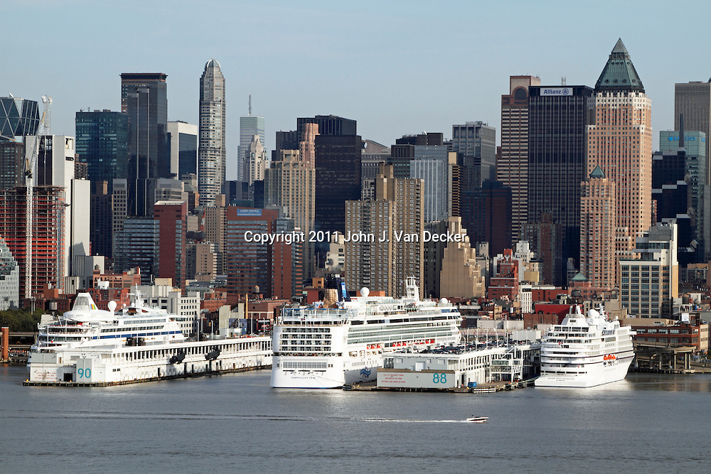 Cruise Ships docked on the Hudson River near mid-town Manhattan, New York City, New York, USA