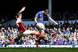 Everton's Kevin Mirallas scores the opening goal to make it 1-0 - Photo mandatory by-line: Matt McNulty/JMP - Mobile: 07966 386802 - 18/04/2015 - SPORT - Football - Liverpool - Goodison Park - Everton v Burnley - Barclays Premier League