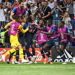 Team France celebrate during the World Cup Final match between France and Croatia at Luzhniki Stadium on July 15, 2018 in Moscow, Russia. (Photo by Anthony Dibon/Icon Sport)