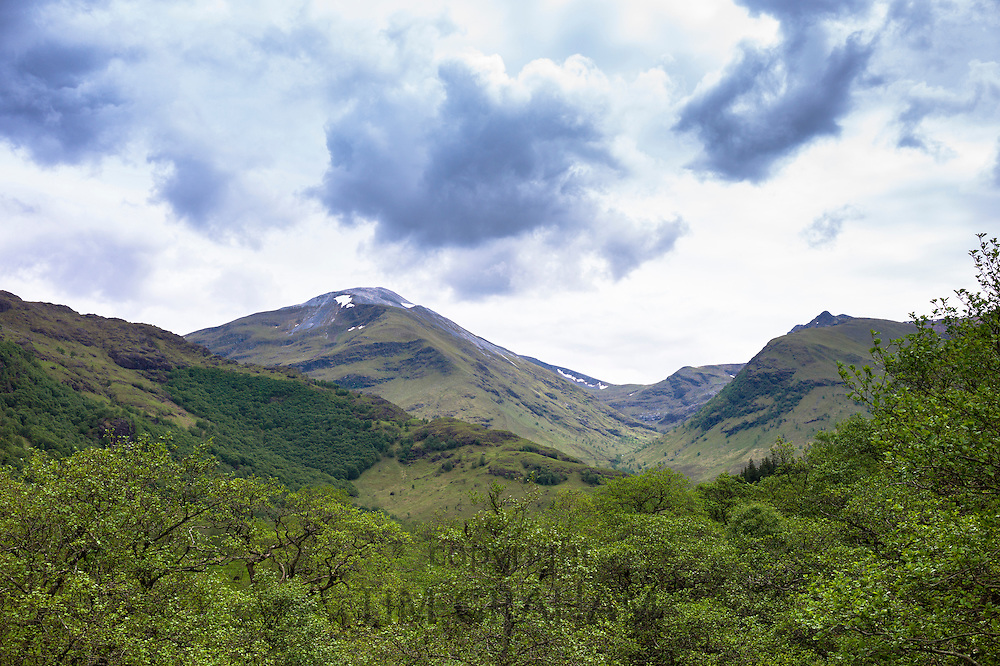 Mountain peak of Ben Nevis in mountain range in Argyllshire, the Highlands of Scotland