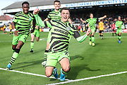 Forest Green Rovers Jack Aitchison(29), on loan from Celtic shoots at goal scores a goal 0-1 during the EFL Sky Bet League 2 match between Cambridge United and Forest Green Rovers at the Cambs Glass Stadium, Cambridge, England on 7 September 2019.