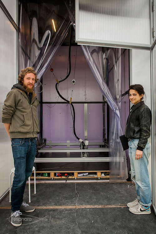 """Amsterdam, May 2014 -3D Print Canal House, Foteini Setaki and Sven De Haan, two of the designer team of the project the """"Kamermaker"""" the """"portable"""" 3d printer for large scale object used for print all the part of the house."""