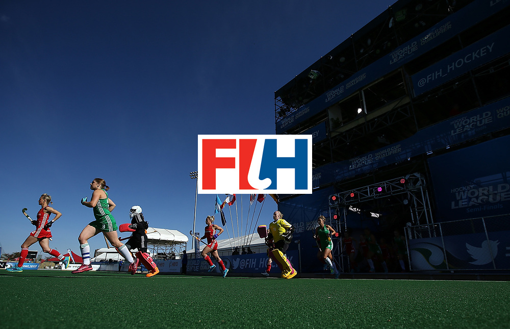 JOHANNESBURG, SOUTH AFRICA - JULY 16:  Players make their way onto the pitch during day 5 of the FIH Hockey World League Women's Semi Finals Pool A match between England and Ireland at Wits University on July 16, 2017 in Johannesburg, South Africa.  (Photo by Jan Kruger/Getty Images for FIH)
