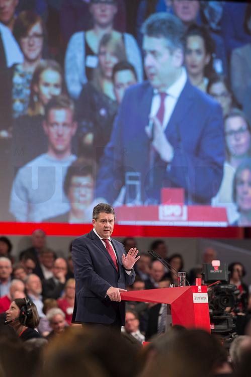 19 MAR 2017, BERLIN/GERMANY:<br /> Martin Schulz, SPD, haelt seine Rede vor seiner Wahl zum SPD Parteivorsitzenden und SPD Spitzenkandidat der Bundestagswahl, a.o. Bundesparteitag, Arena Berlin<br /> IMAGE: 20170319-01-0<br /> KEYWORDS: party congress, social democratic party, candidate