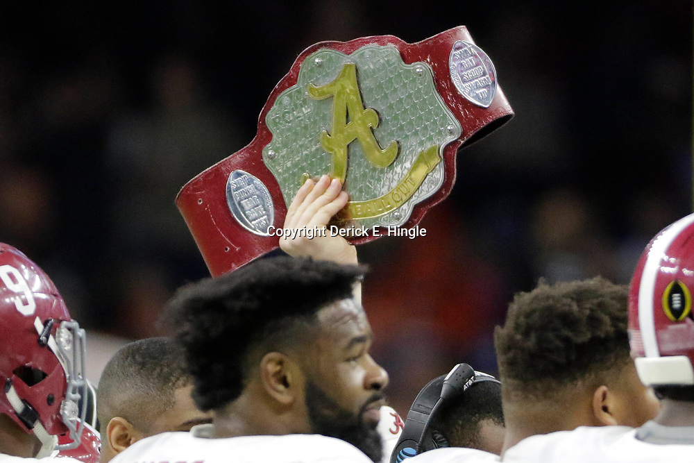 Jan 1, 2018; New Orleans, LA, USA; A belt for Alabama Crimson Tide is held up during the third quarter against the Clemson Tigers in the 2018 Sugar Bowl college football playoff semifinal game at Mercedes-Benz Superdome. Mandatory Credit: Derick E. Hingle-USA TODAY Sports