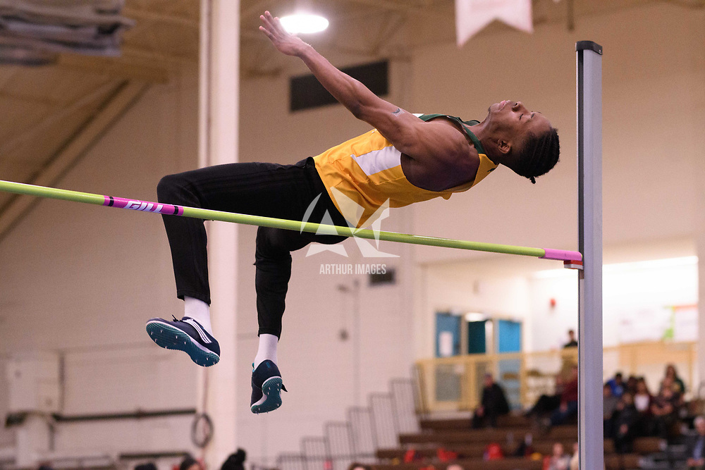 Edward Mayaki in action during the 2018 Canada West Track & Field Championship on February  24 at James Daly Fieldhouse. Credit: Arthur Ward/Arthur Images