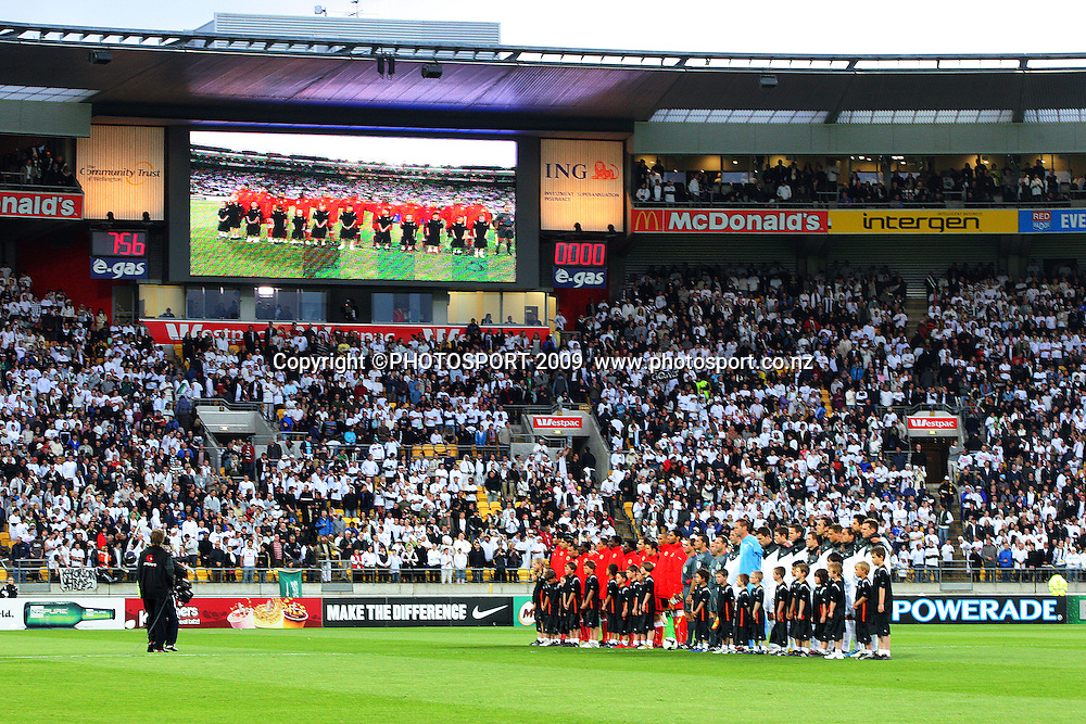 The teams line up for national anthems.<br /> FIFA World Cup soccer qualifying play-off, second leg - New Zealand All Whites v Bahrain at Westpac Stadium, Wellington, New Zealand. Saturday, 14 November 2009. Photo: Dave Lintott/PHOTOSPORT