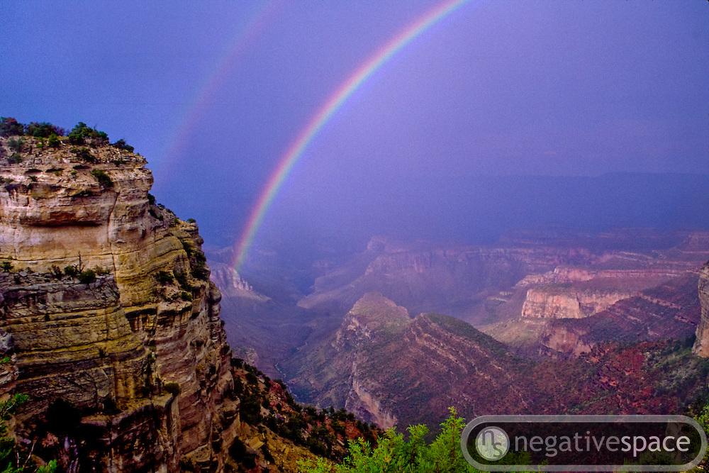 Double rainbows over the Grand Canyon, South Rim, Arizona