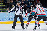 KELOWNA, CANADA -FEBRUARY 25: Linesman, Dustin Minty prepares for the face off between the Kelowna Rockets and the Prince George Cougars on February 25, 2014 at Prospera Place in Kelowna, British Columbia, Canada.   (Photo by Marissa Baecker/Getty Images)  *** Local Caption *** Dustin Minty;