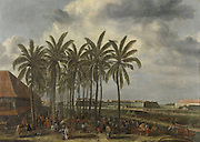 The Castle of Batavia, seen from Kali Besar West, ca. 1656. In the foreground, a type of market under the palm trees.<br /> painter: Andries Beeckman
